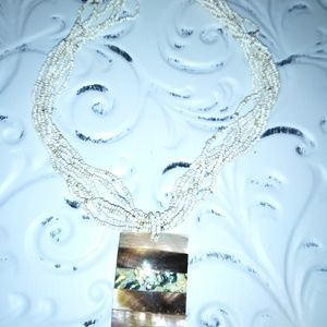 Abalone and bead necklace